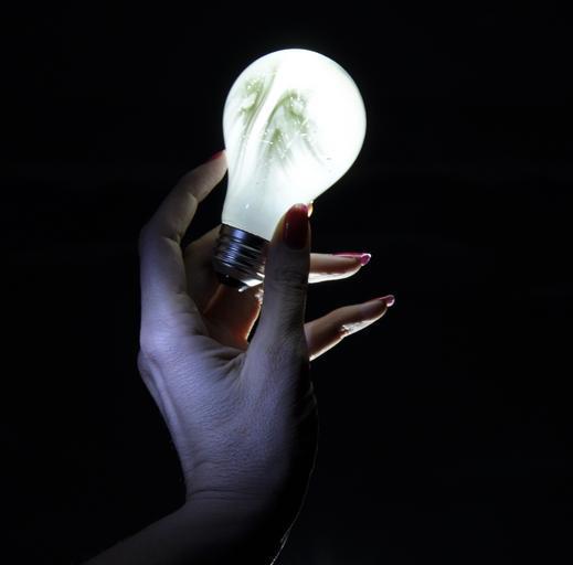 žárovka v ruce